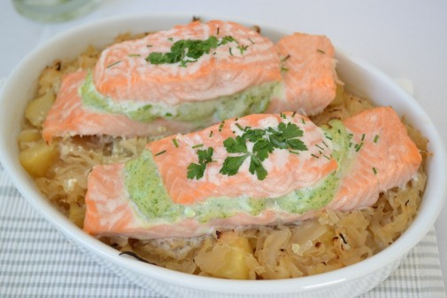 salmon on sauerkraut